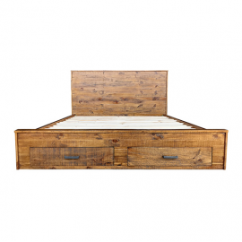 Cob&Co Queen Bed with Drawer Rustic Colour